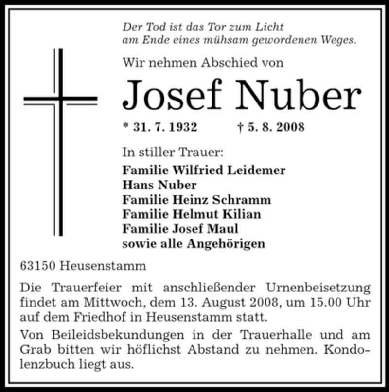 Anzeige von  Josef Nuber
