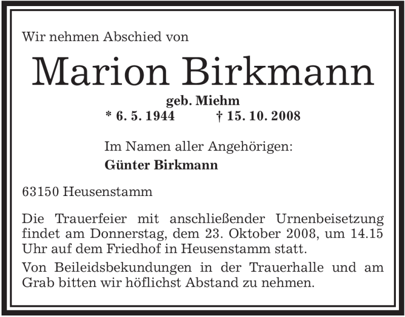 Anzeige von  Marion Birkmann