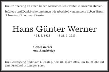 Zur Gedenkseite von Hans Günter