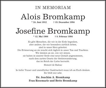 Zur Gedenkseite von Alois und Josefine