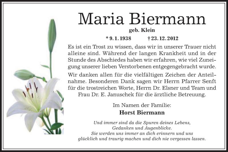 Traueranzeige für Maria Biermann vom 07.02.2013 aus Offenbach