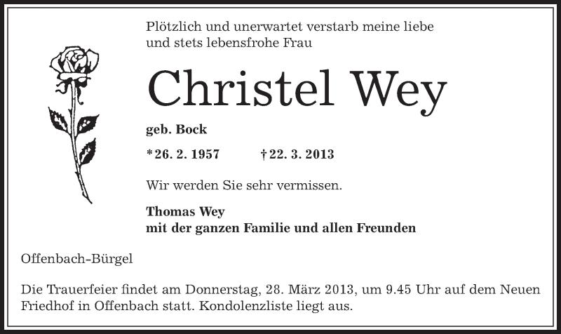 Traueranzeige für Christel Wey vom 26.03.2013 aus Offenbach