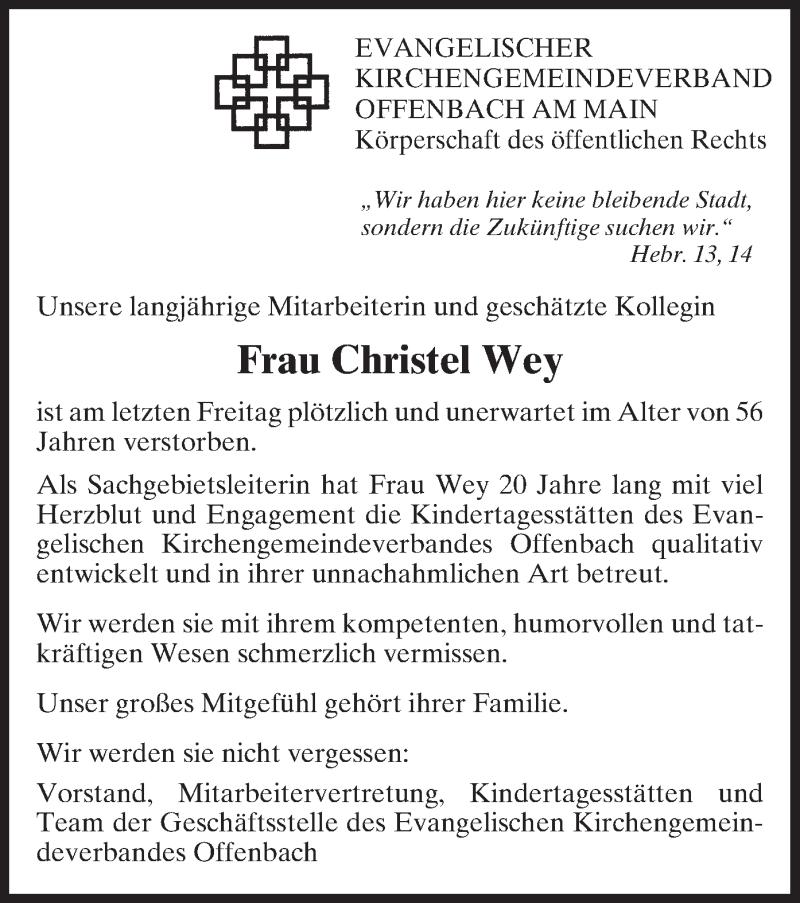 Traueranzeige für Christel Wey vom 27.03.2013 aus Offenbach