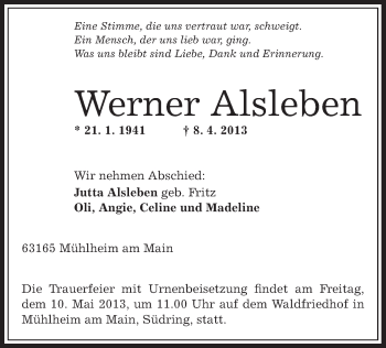 Profilbild von Werner Alsleben