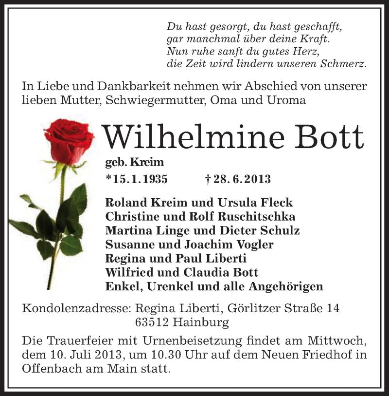 Traueranzeige für Wilhelmine Bott vom 06.07.2013 aus Offenbach