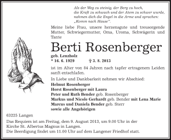 Traueranzeige von Berti Rosenberger von Offenbach