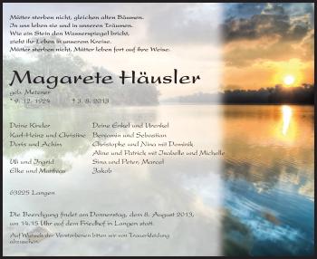 Traueranzeige von Magarete Häusler von Offenbach