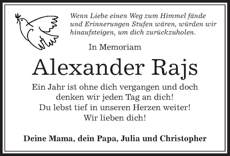 Anzeige von  Alexander Rajs