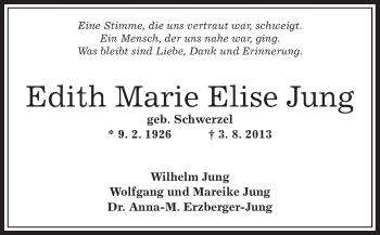 Traueranzeige von Edith Marie Elise Jung von Offenbach