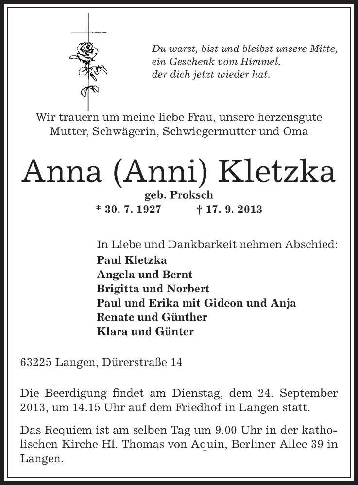 Traueranzeige für Anna Kletzka vom 20.09.2013 aus Offenbach