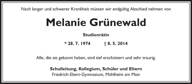 Traueranzeige für Melanie Grünewald vom 15.05.2014 aus Offenbach
