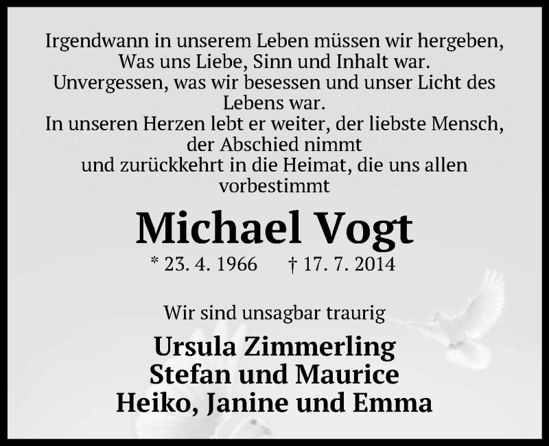 Traueranzeige für Michael Vogt vom 26.07.2014 aus Offenbach