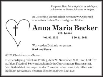 Zur Gedenkseite von Anna Maria