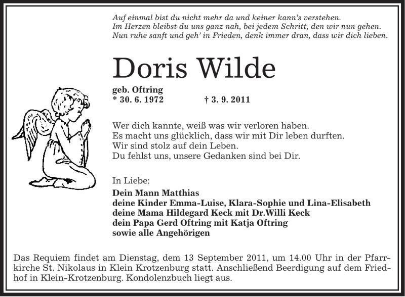 Anzeige von  Doris Wilde