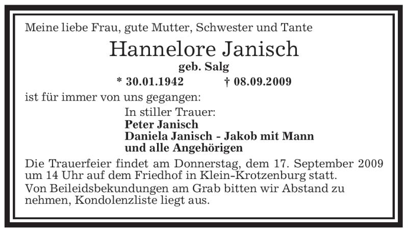 Anzeige von  Hannelore Janisch