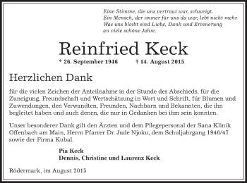 Zur Gedenkseite von Reinfried
