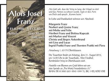 Zur Gedenkseite von Alois Josef