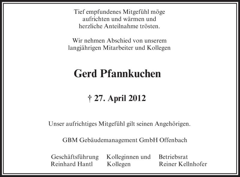 Anzeige von  Gerd Pfannkuchen