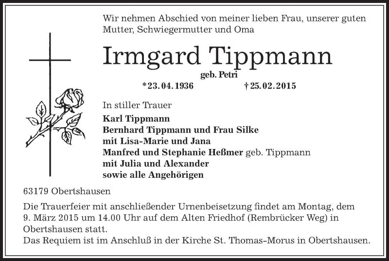 Traueranzeige für Irmgard Tippmann vom 04.03.2015 aus Offenbach