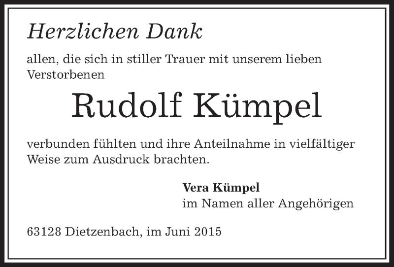 Traueranzeige für Rudolf Kümpel vom 11.06.2015 aus Offenbach
