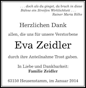 Traueranzeige für Eva Zeidler vom 14.01.2014 aus Rheinmain