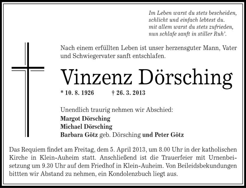 Anzeige von  Vinzenz Dörsching