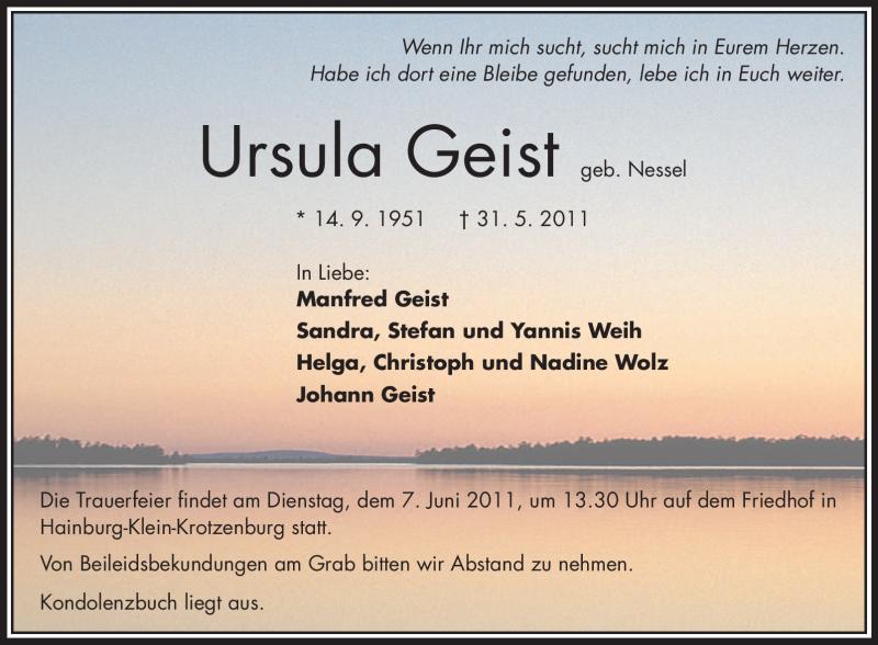 Traueranzeige für Ursula Geist vom 04.06.2011 aus OFFENBACH-POST/HANAU-POST
