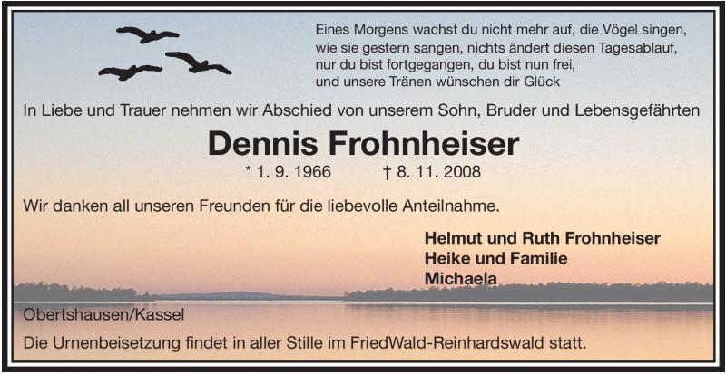 Anzeige von  Dennis Frohnheiser