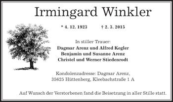 Zur Gedenkseite von Irmingard