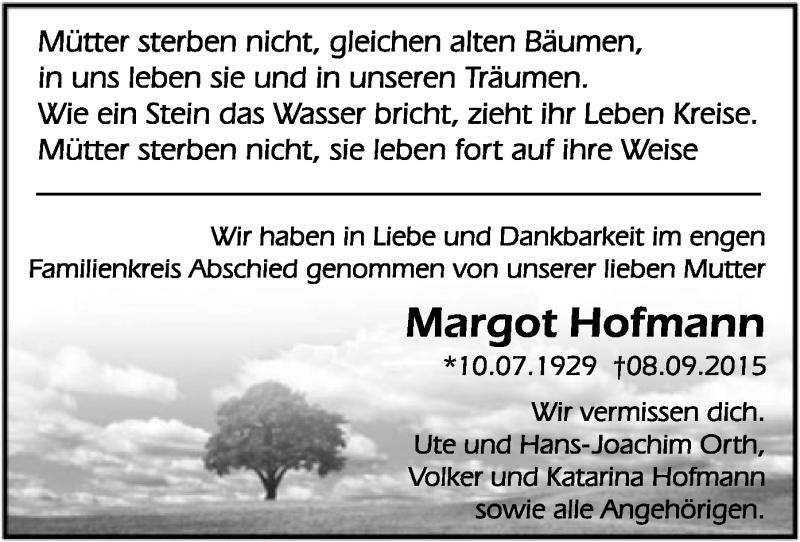 Traueranzeige für Margot Hofmann vom 26.09.2015 aus Offenbach