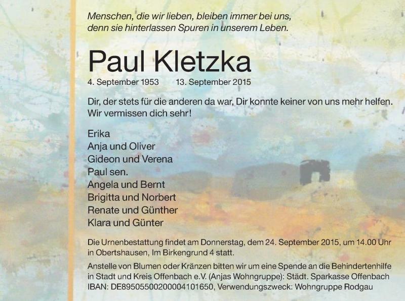 Traueranzeige für Paul Kletzka vom 19.09.2015 aus Offenbach