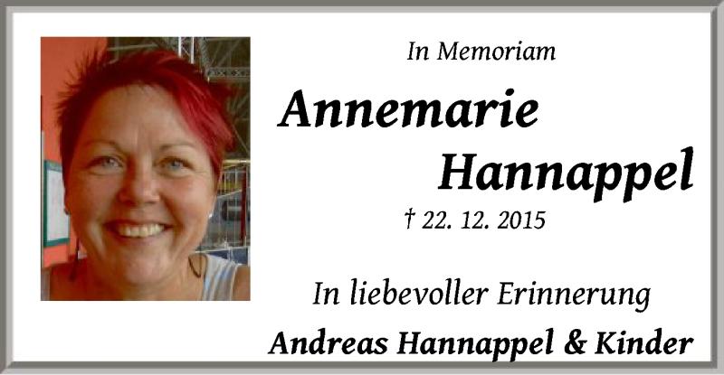 Traueranzeige für Annemarie Hannappel vom 22.12.2016 aus Offenbach