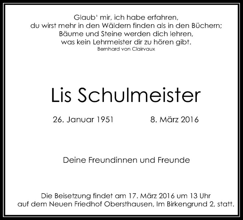 Traueranzeige für Lis Schulmeister vom 12.03.2016 aus Offenbach