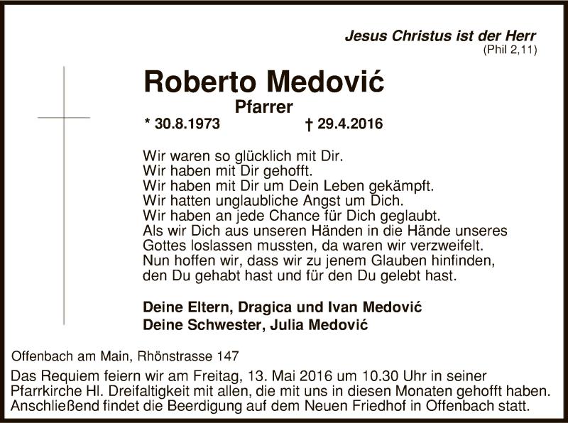 Traueranzeige für Pfarrer Roberto Medovic vom 07.05.2016 aus Offenbach