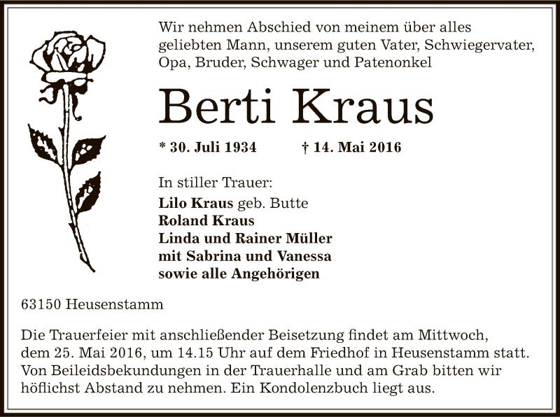 Traueranzeige für Berti Kraus vom 21.05.2016 aus Offenbach
