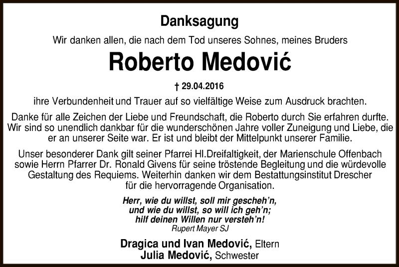 Traueranzeige für Pfarrer Roberto Medovic vom 18.06.2016 aus Offenbach