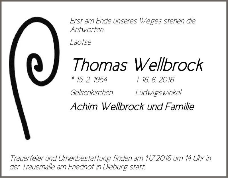 Anzeige von  Thomas Wellbrock