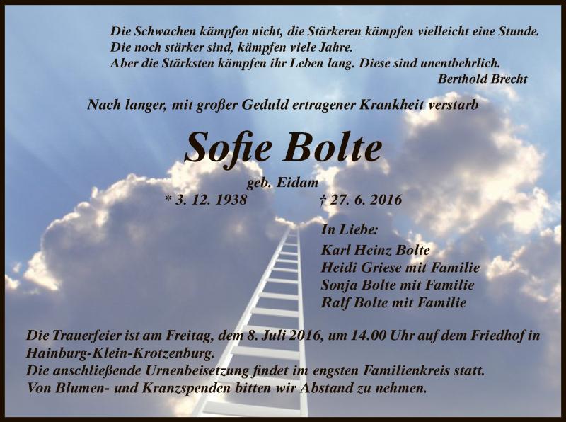 Traueranzeige für Sofie Bolte vom 06.07.2016 aus Offenbach