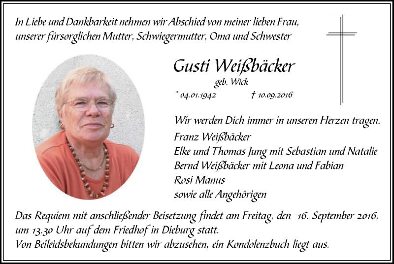 Anzeige von  Gusti Weißbäcker