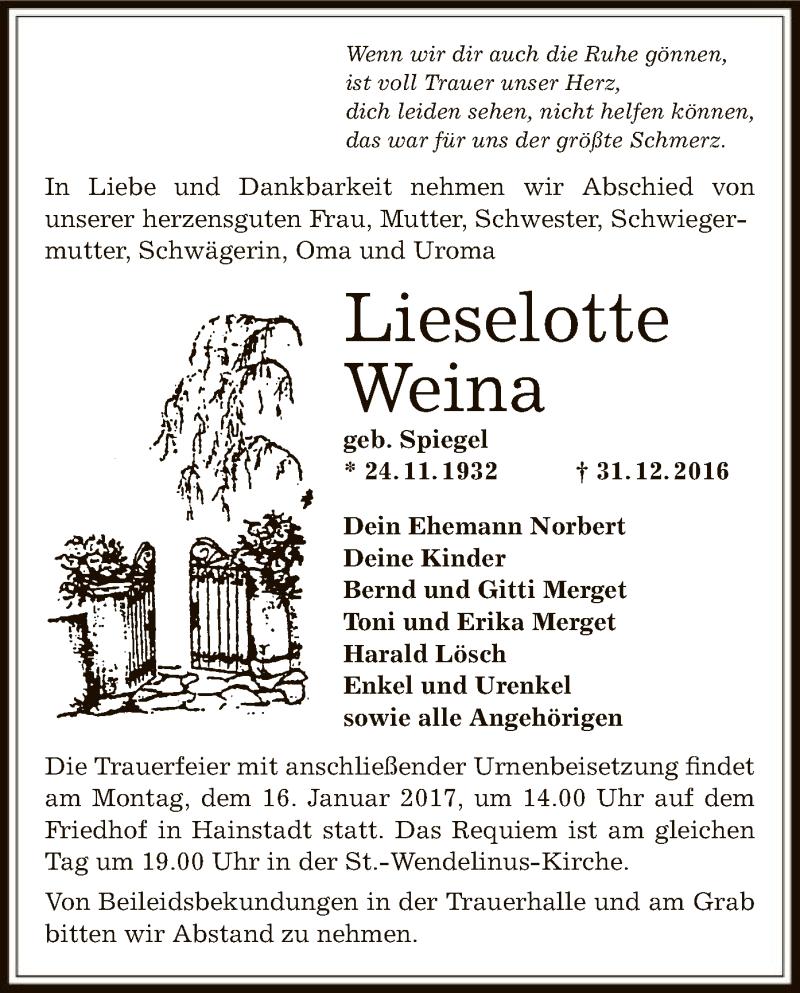 Anzeige von  Lieselotte Weina