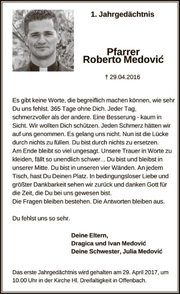 Traueranzeige für Pfarrer Roberto Medovic vom 22.04.2017 aus Offenbach