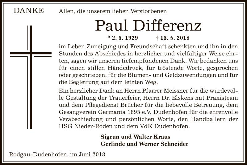 Traueranzeige für Paul Differenz vom 23.06.2018 aus Offenbach