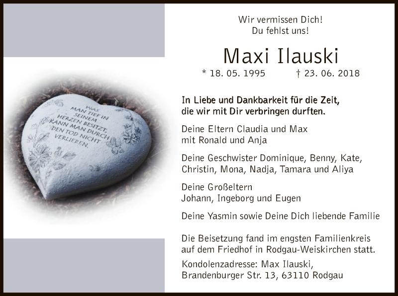 Traueranzeige für Maxi Ilauski vom 12.07.2018 aus Offenbach