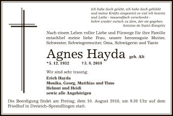 Traueranzeige von Agnes Hayda von Offenbach