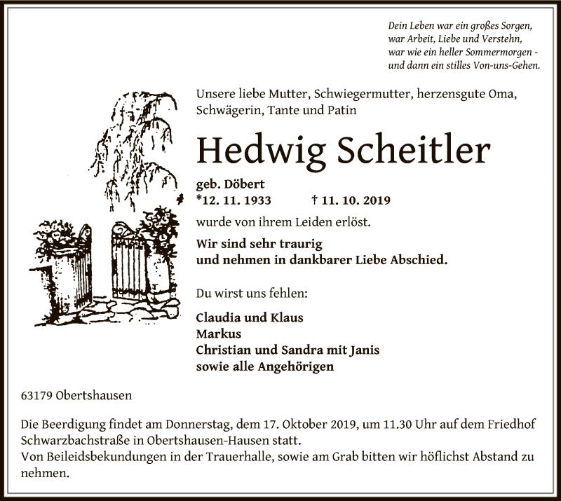 Anzeige von  Hedwig Scheitler