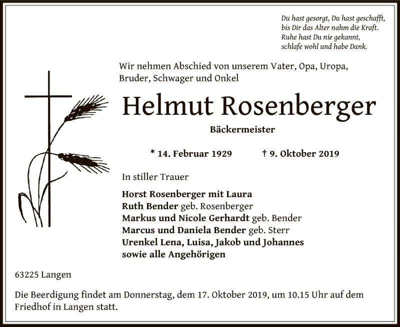 Anzeige von  Helmut Rosenberger