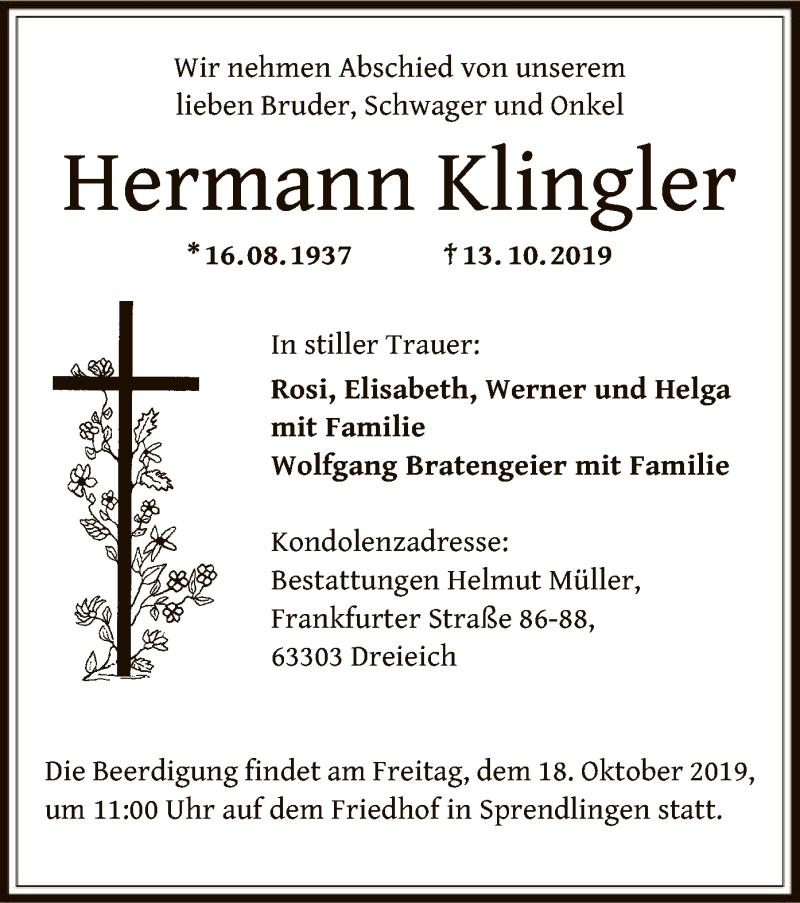 Traueranzeige für Hermann Klingler vom 17.10.2019 aus Offenbach