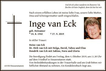 Traueranzeige von Inge van Eck von Offenbach