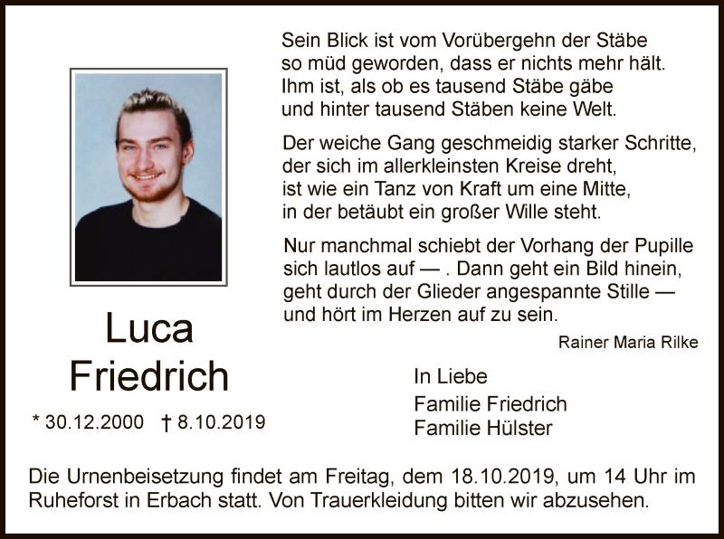 Anzeige von  Luca Friedrich