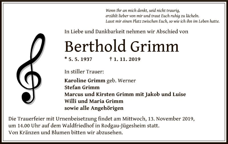 Traueranzeige für Berthold Grimm vom 09.11.2019 aus Offenbach